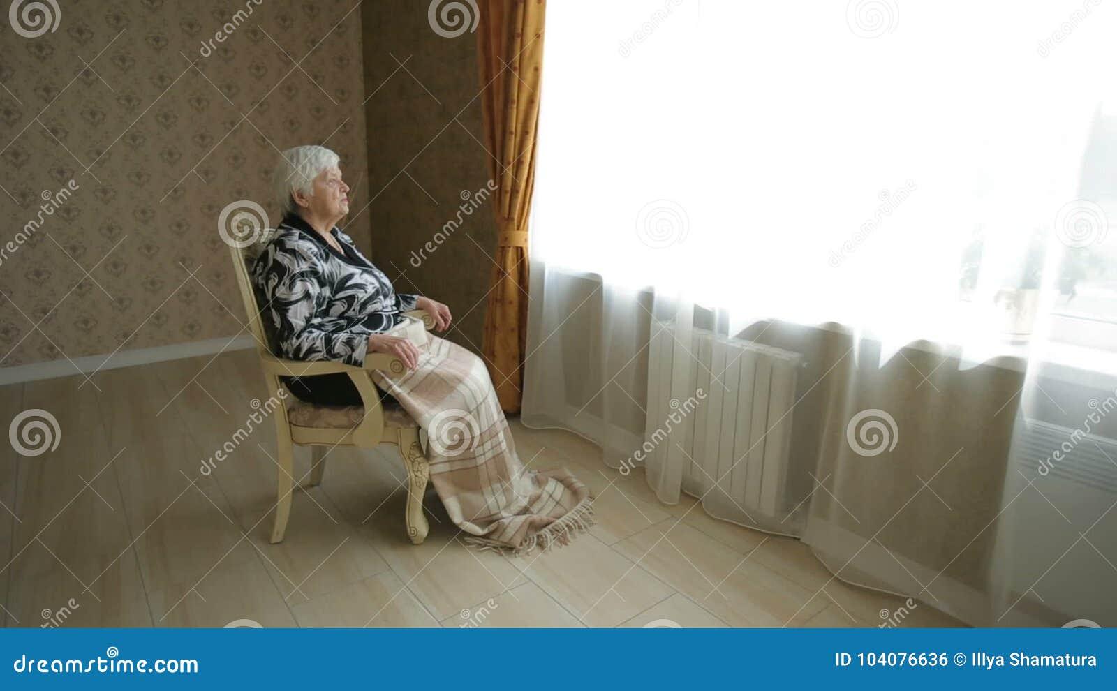 Lonely Senior Woman Look Thru Window Stock Footage - Video of granny ...