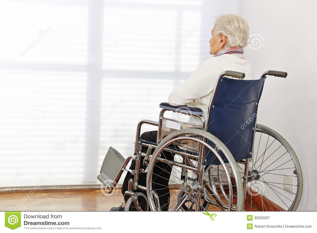 Lonely Senior Woman In Wheelchair Stock Image Image