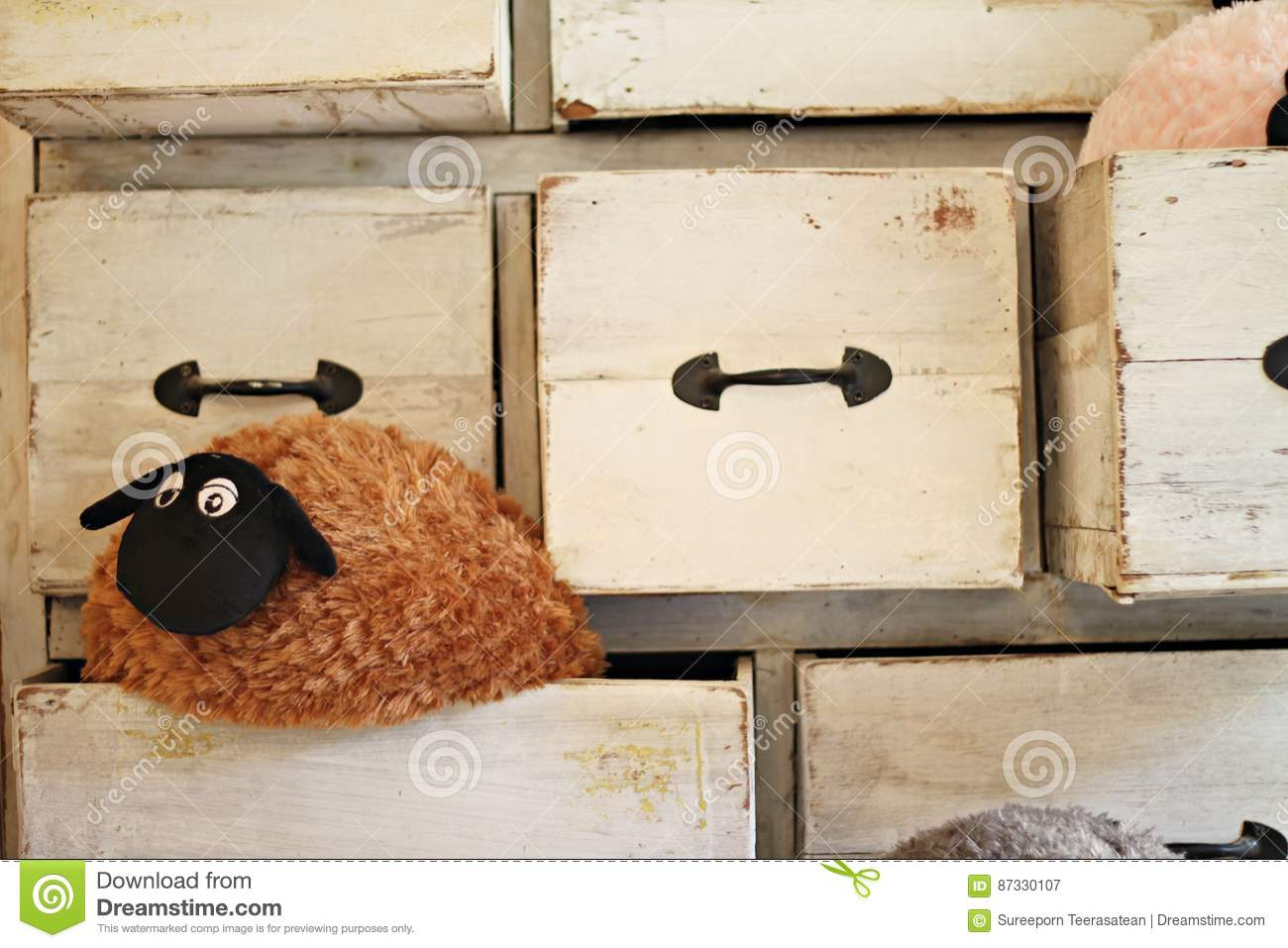 Lonely sheep doll in the drawer