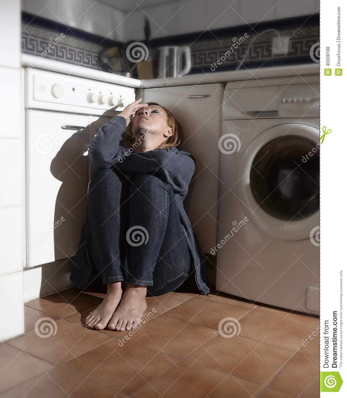 I Cried For You On The Kitchen Floor: Lonely And Sick Woman Sitting On Kitchen Floor In Stress