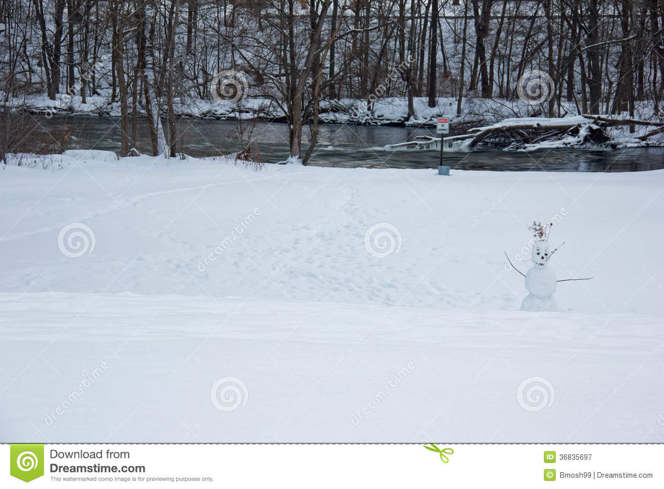Lonely Snowman In A Cold Park Stock Image - Image of snowman, river
