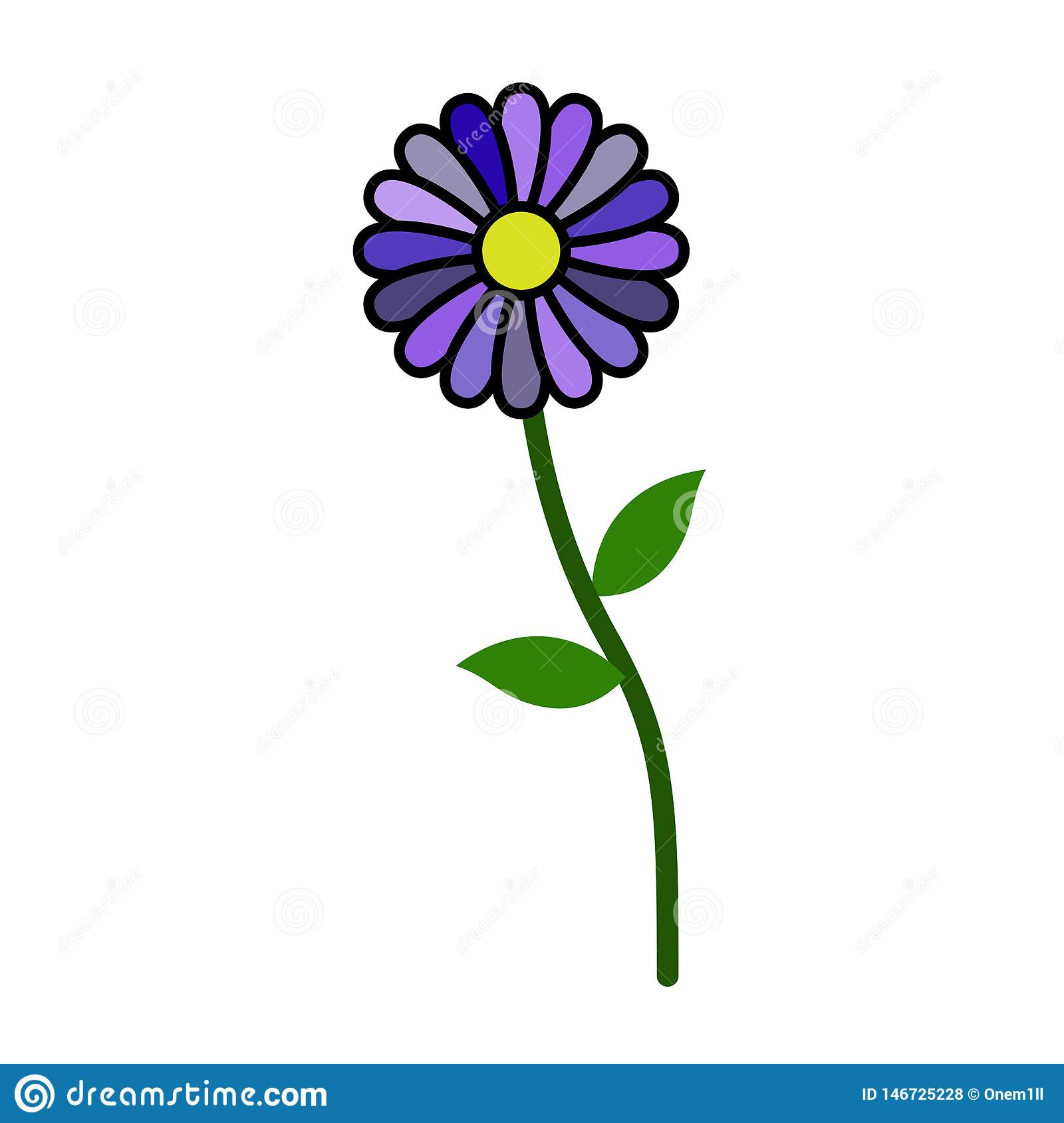 Lonely standing flower without stroke isolated on white background. New, 2019