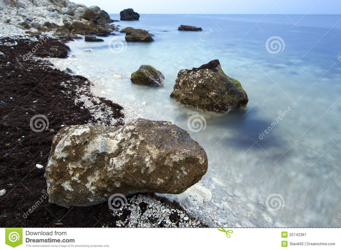 Lonely stone on the seashore