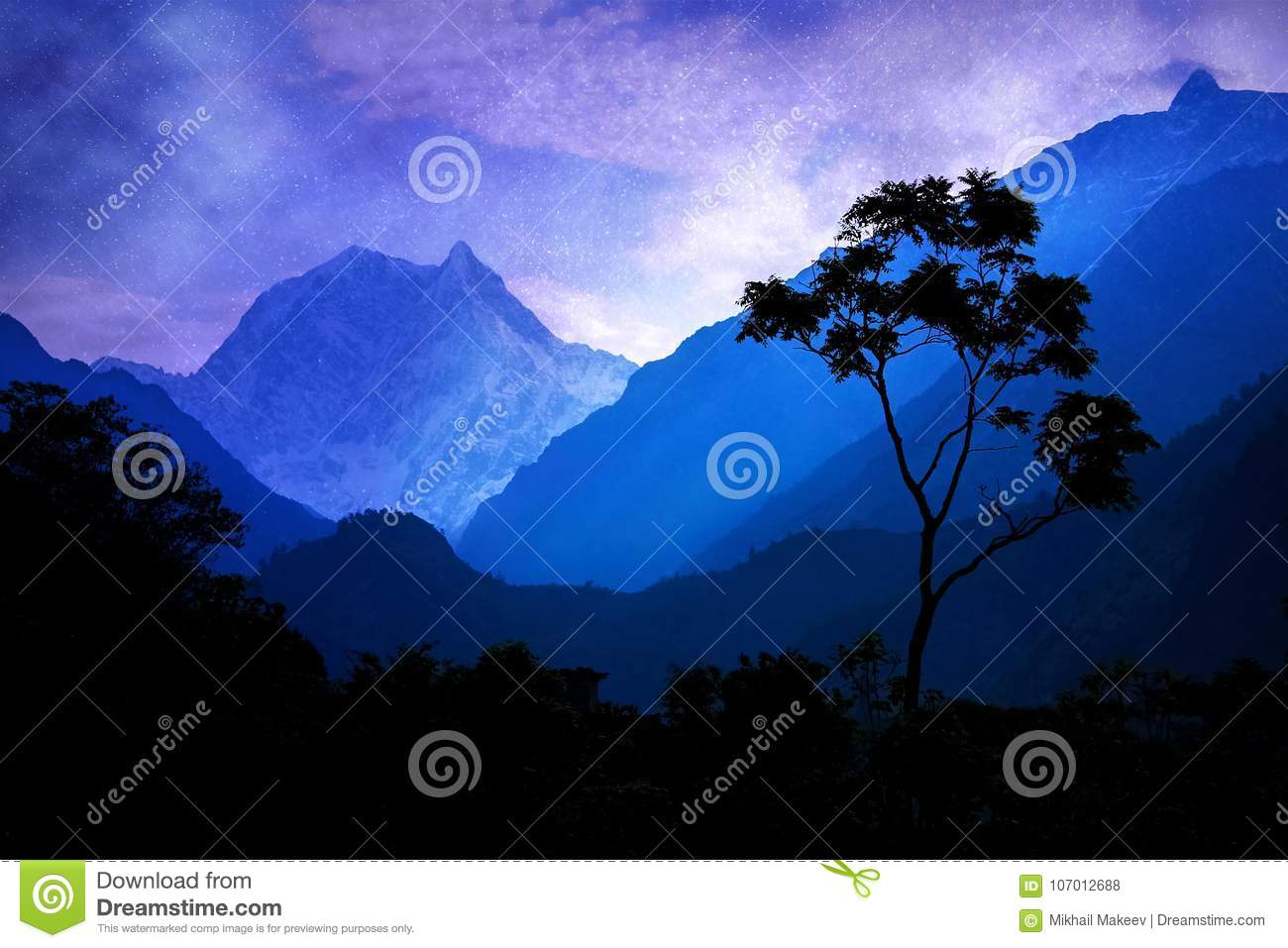 A lonely tree against the background of the Himalayan mountains and night sky.