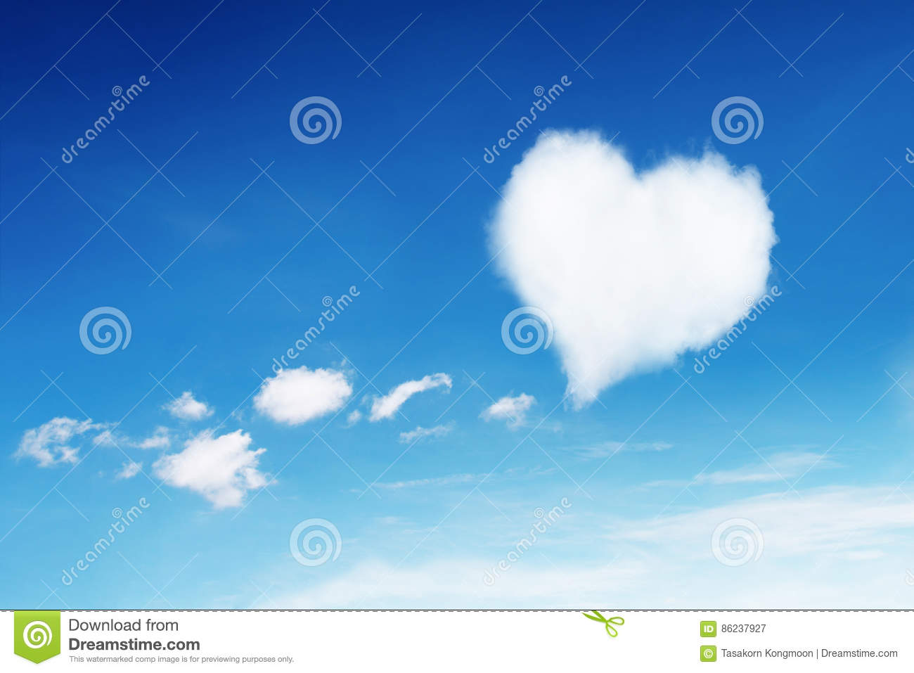 lonely white heart shaped cloud on blue sky for pattern