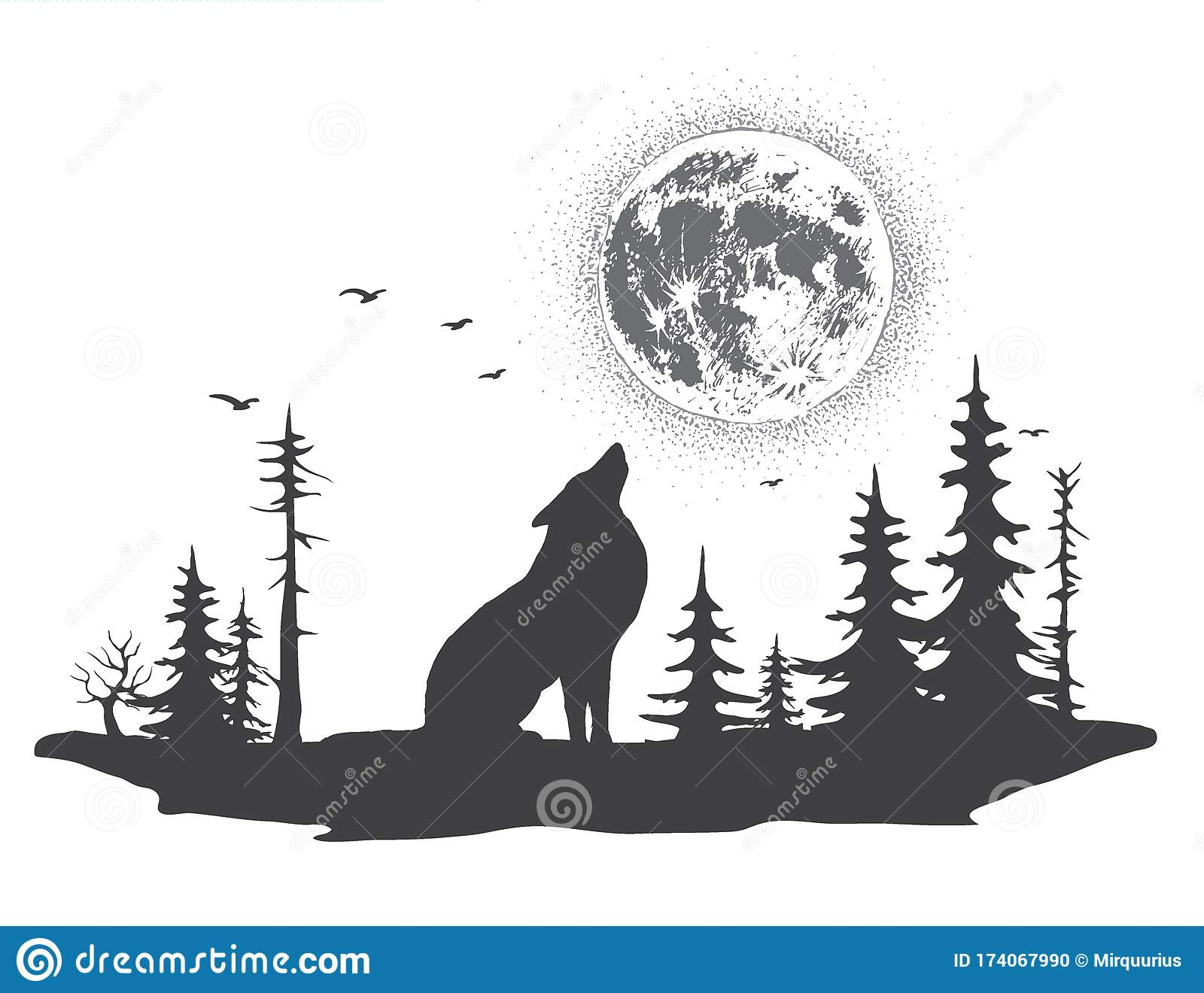 Lonely Wolf Howling At The Moon Stock Vector Illustration Of Spruce Drawing 174067990