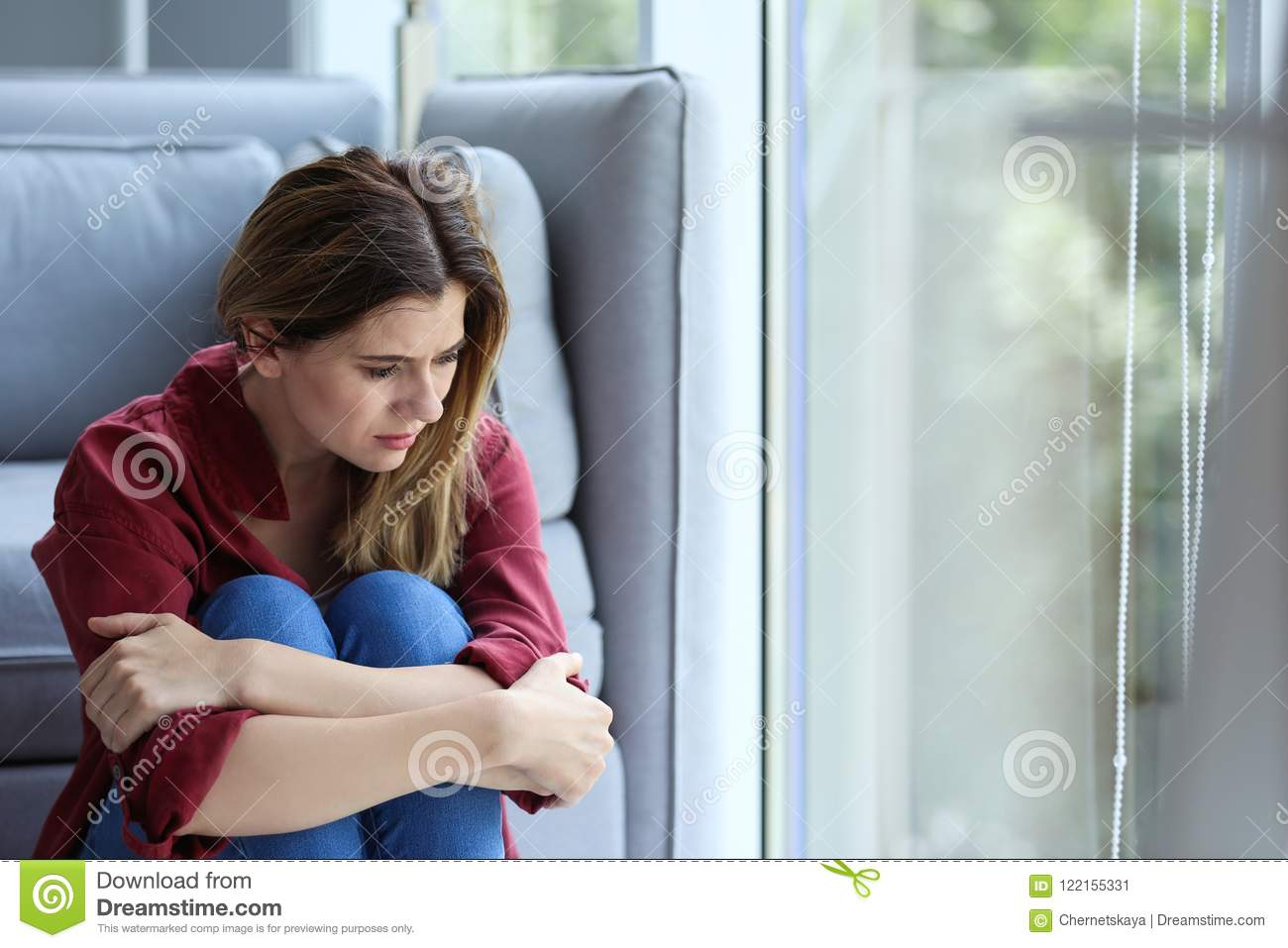 Lonely woman suffering from depression