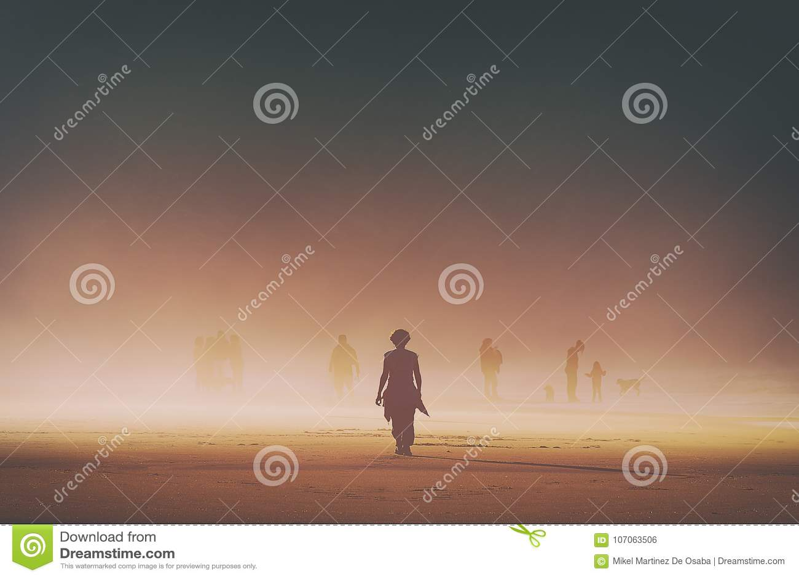 Lonely woman walking on beach