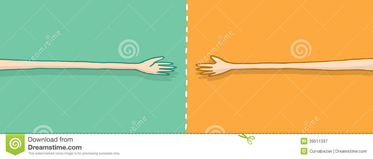 Long arms in negotiation on a handshake