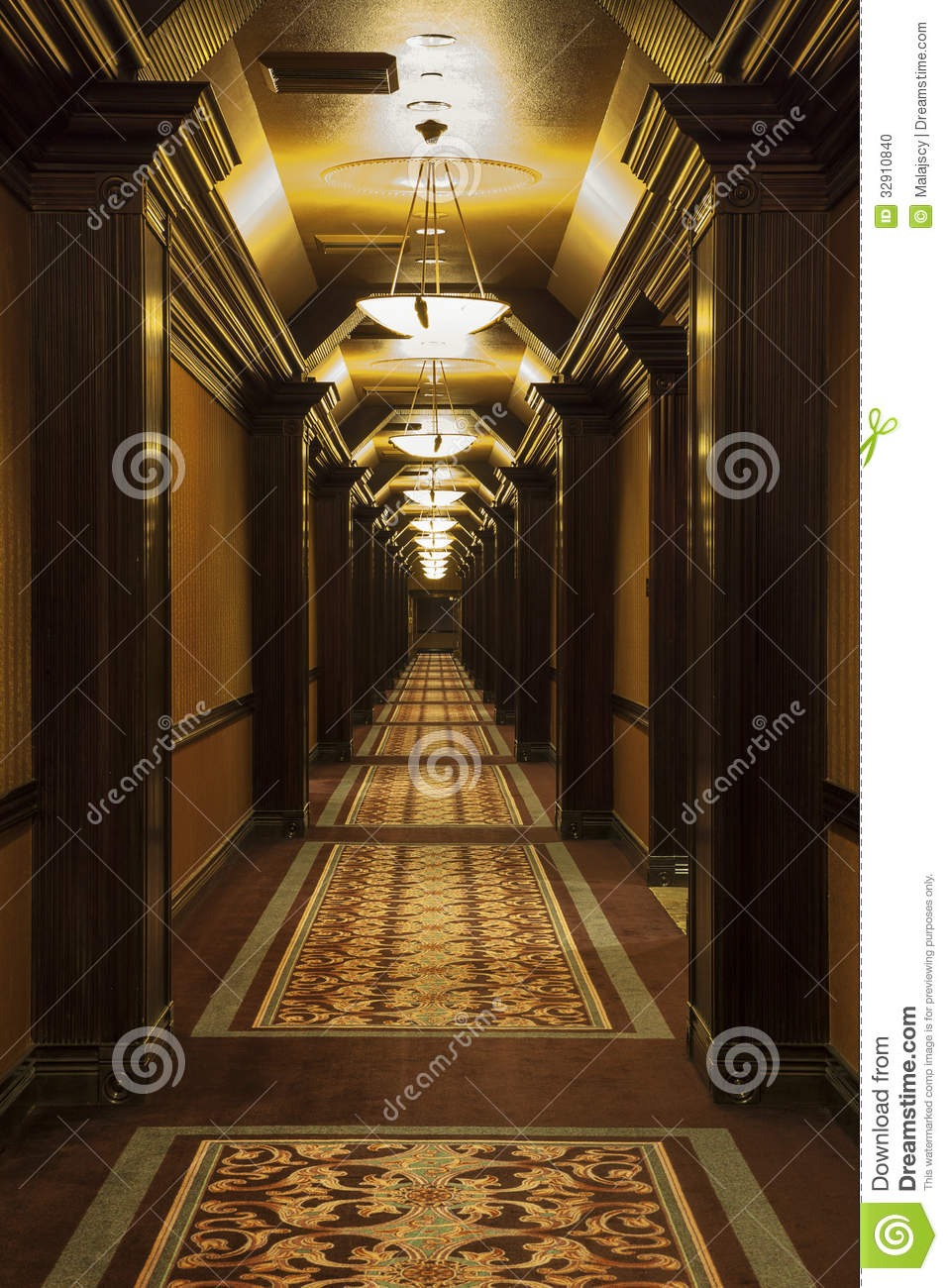 Long art deco corridor stock photo image of revival 32910840 - Deco corridor schilderij ...