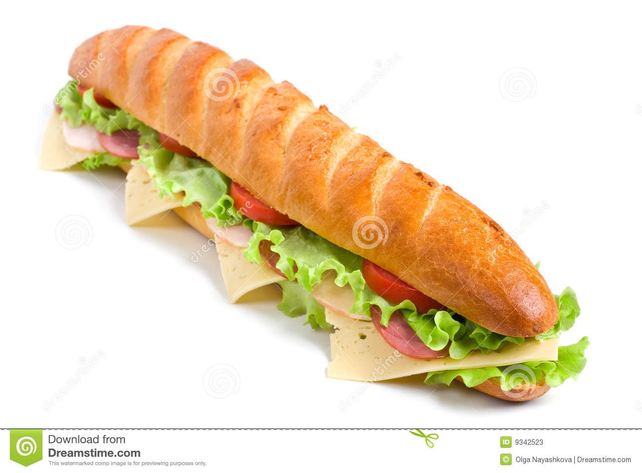Long baguette sandwich with lettuce, slices of fresh tomatoes, ham ...