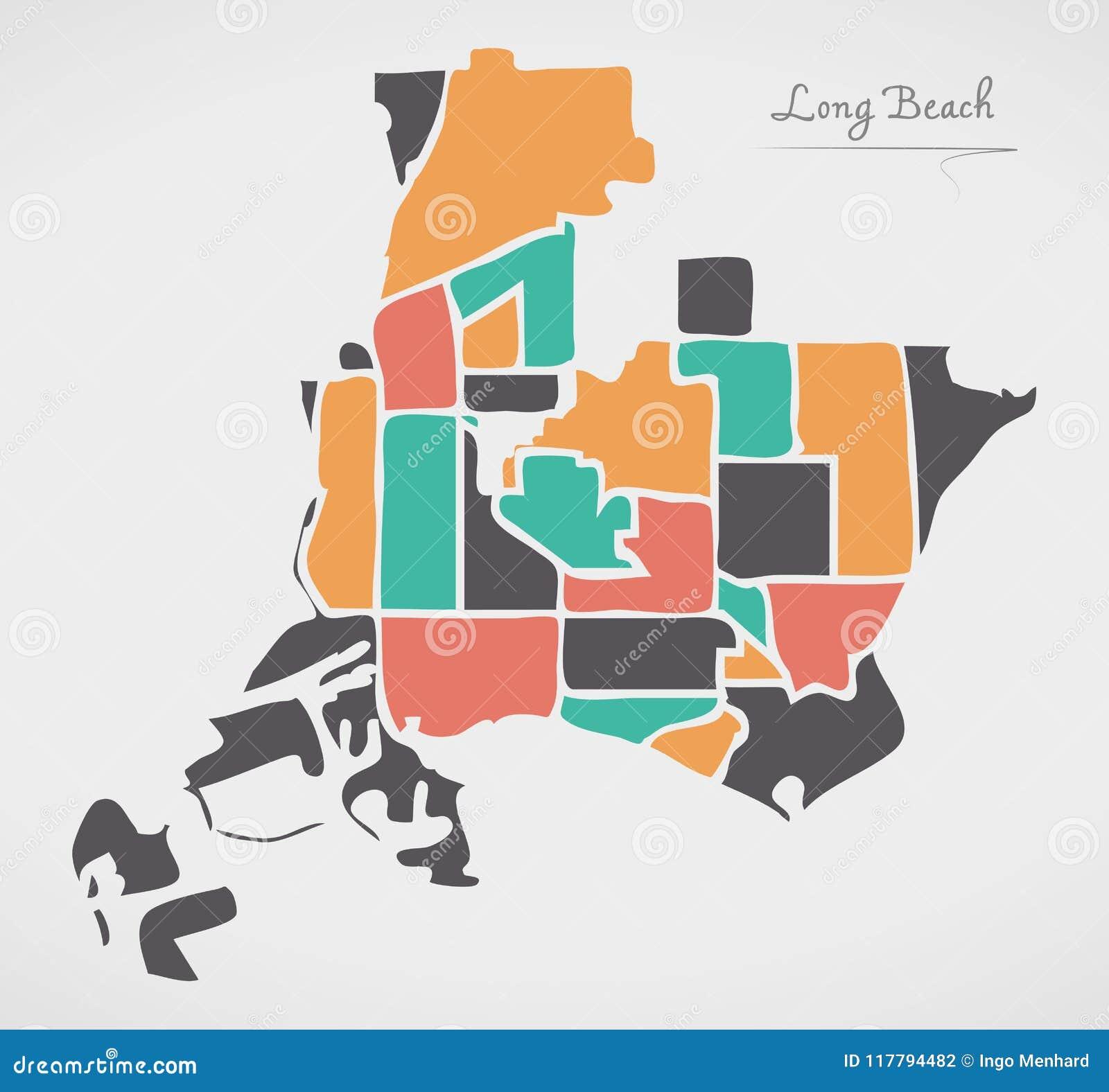 Long Beach California Map With Neighborhoods And Modern ...