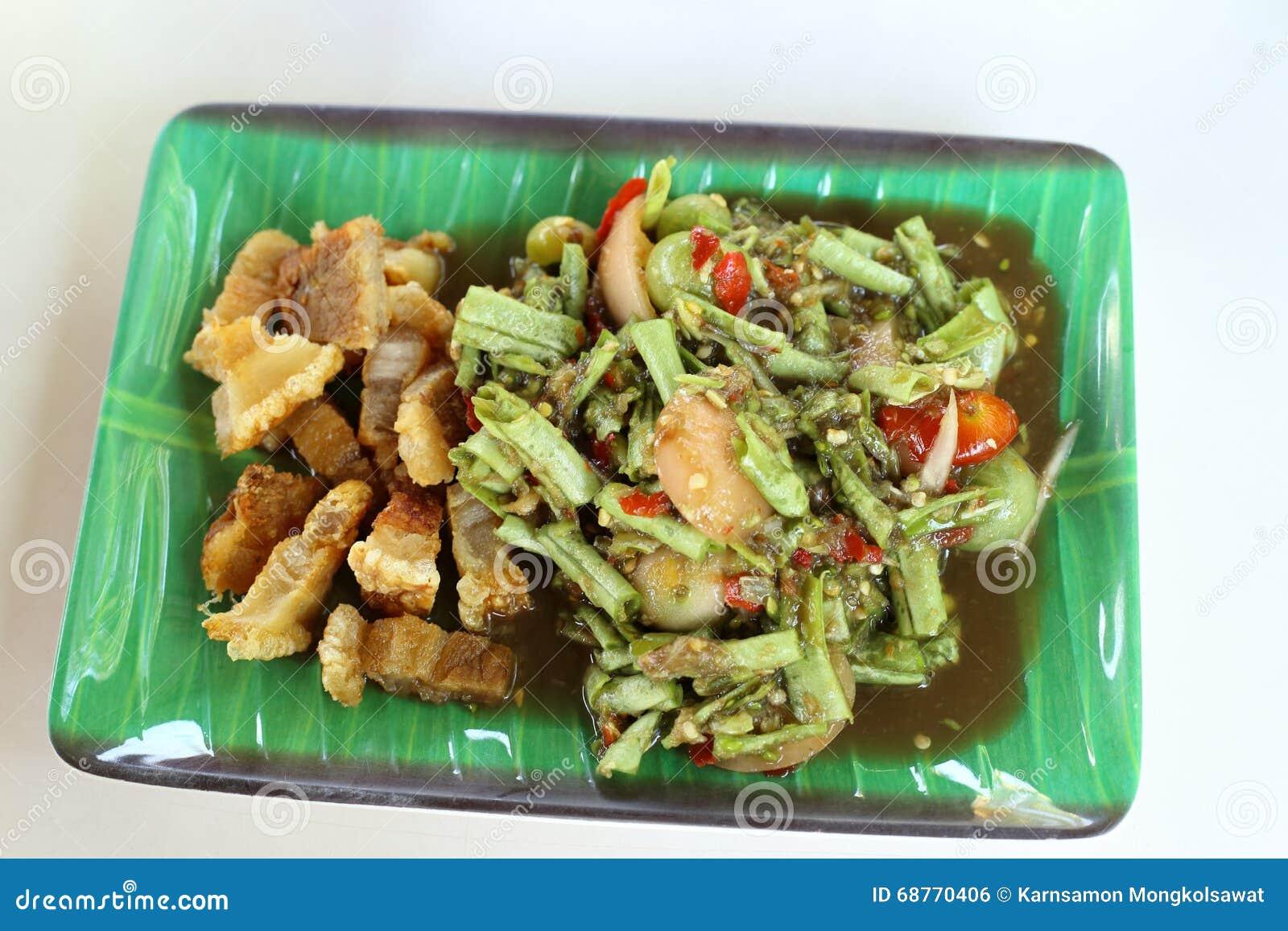 Long Bean Spicy Salad with Crispy fried streaky pork recipe