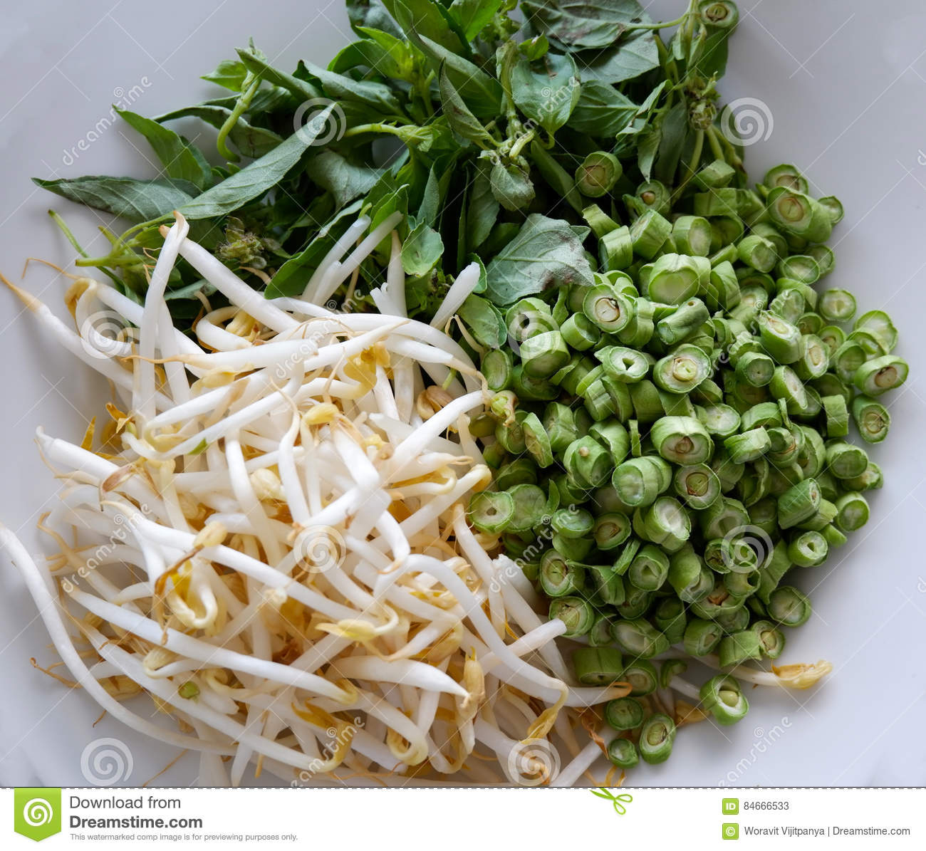 Long beans chopped bean sprouts