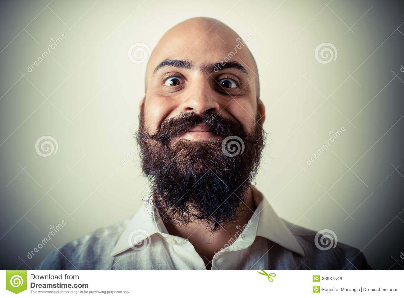 Long Beard And Mustache Man With White Shirt Royalty Free ...