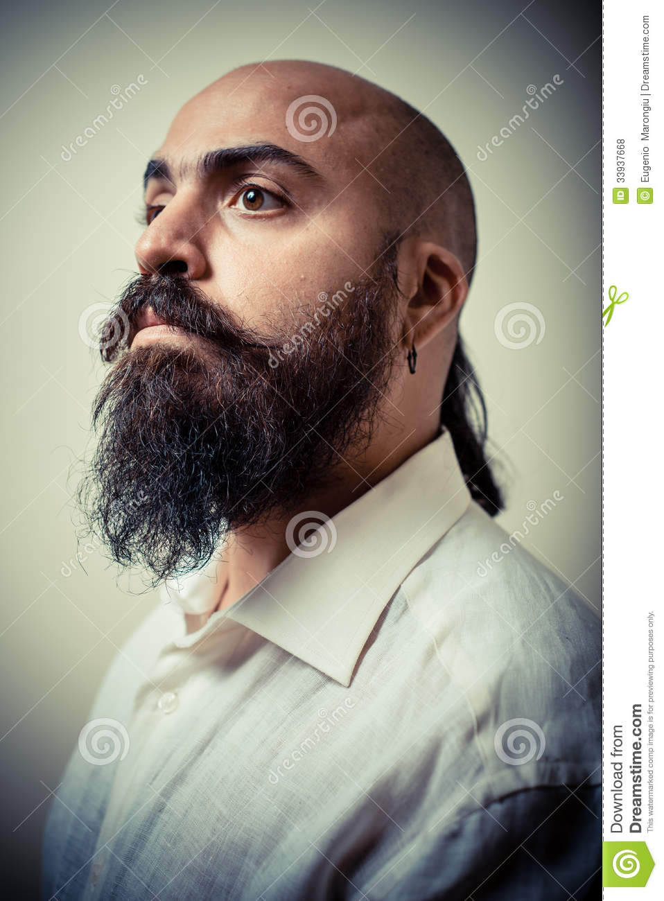 Magnificent Long Beard And Mustache Man With White Shirt Royalty Free Stock Short Hairstyles Gunalazisus