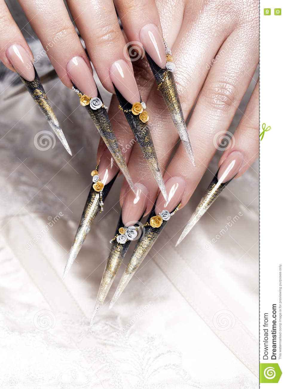 Long Beautiful Manicure With Flowers On Female Fingers. Nails Design ...