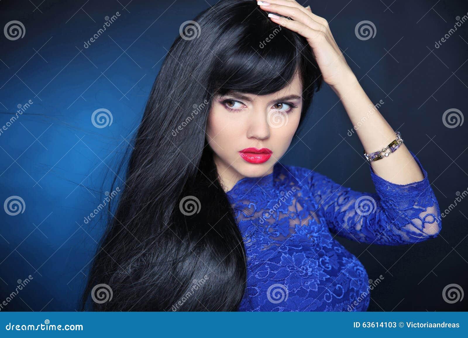 Long Black Hair Beautiful Model Girl With Healthy Straight Shin