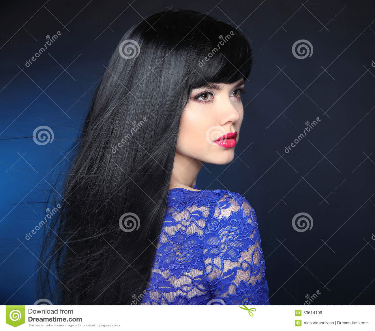 Beautiful girl with black hair magnificent phrase