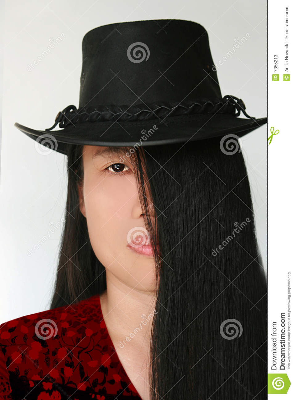 Long black hair beauty with hat