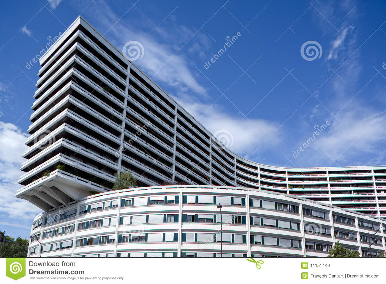 Long black and white modern building in paris royalty free for How long to build a house
