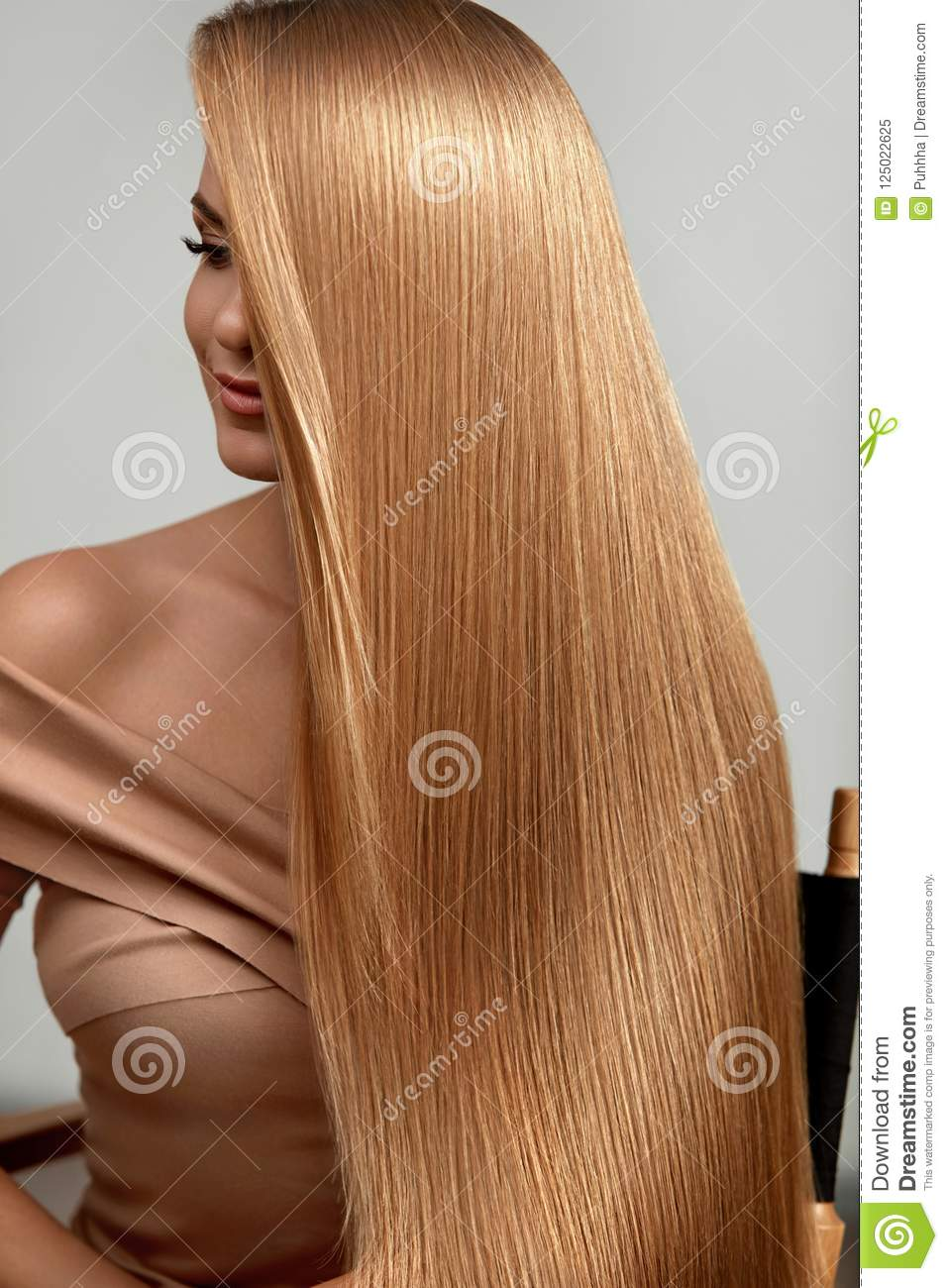 Long Blonde Hair Beautiful Woman With Healthy Straight Hair