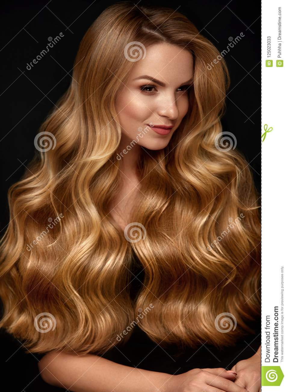 Long Blonde Hair Woman With Wavy Hairstyle Beauty Face Stock Image