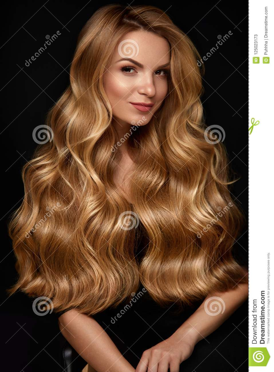 Long Blonde Hair Woman With Wavy Hairstyle Beauty Face