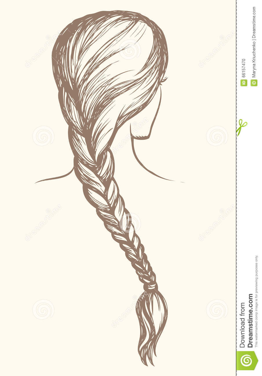 Long Braid Vector Drawing Cartoon Vector Cartoondealer