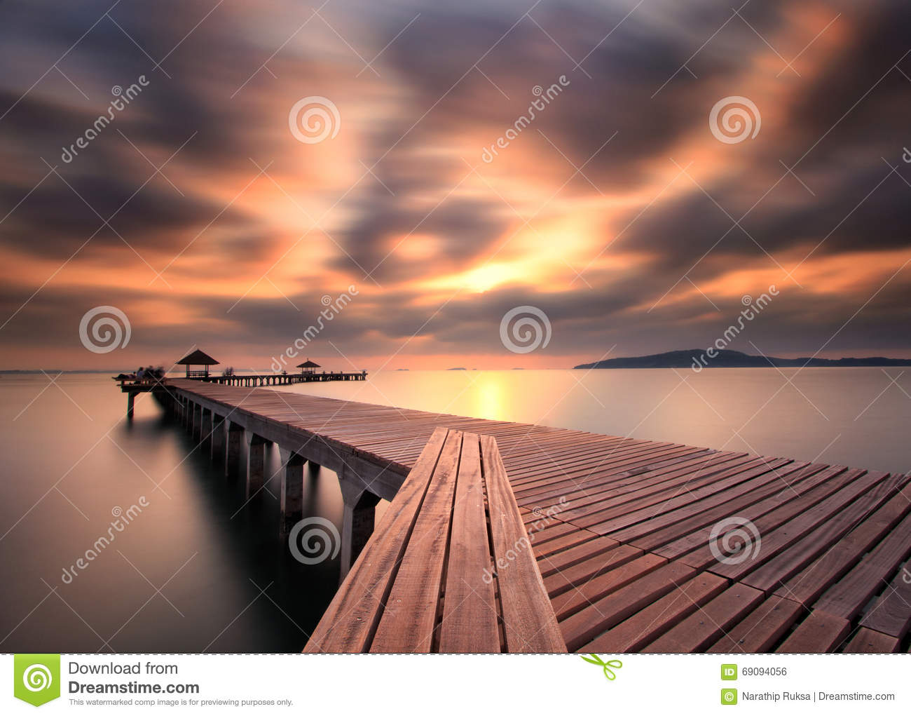 The long bridge over the sea with a beautiful sunrise, Rayong, T