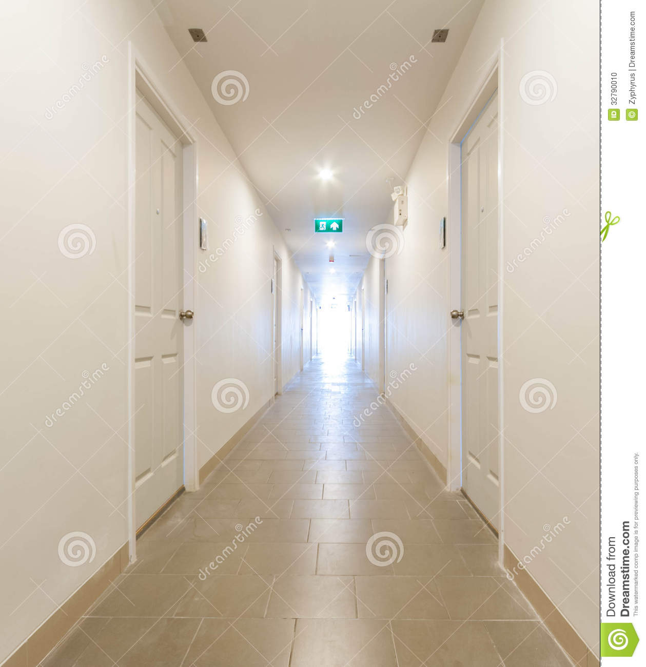 Long Corridor Building Hallway Stock Photo Image
