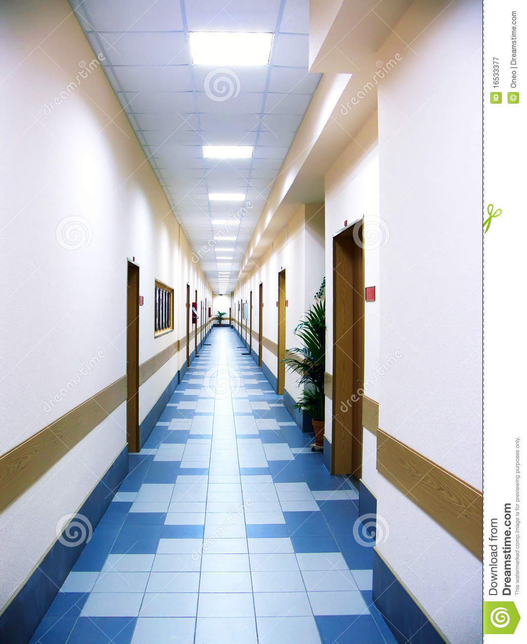 Long Corridor At Office Centre Royalty Free Stock Photography - Image ...