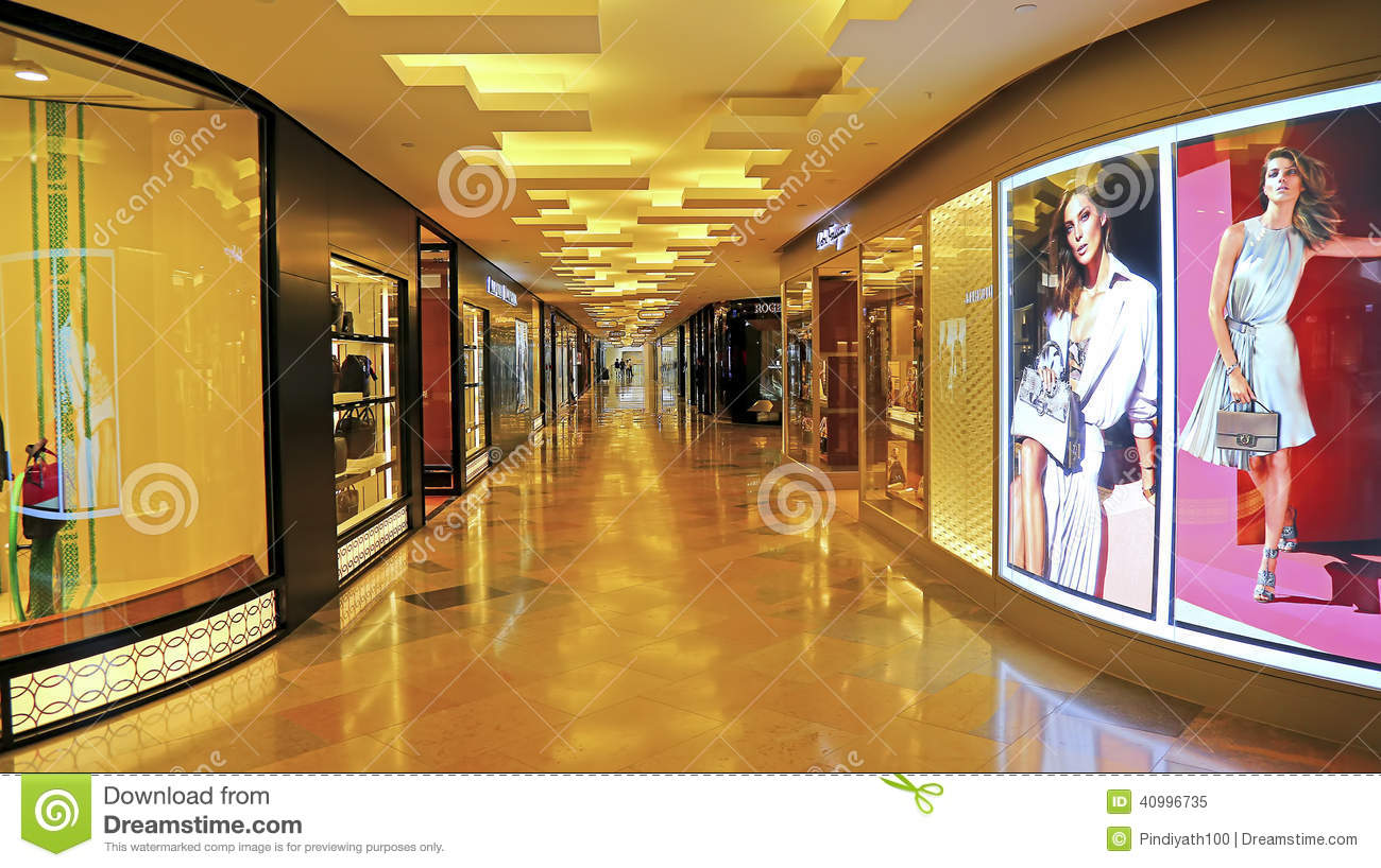 Home Design And Outlet Center Long Corridor And Shops Inside Shopping Mall Editorial