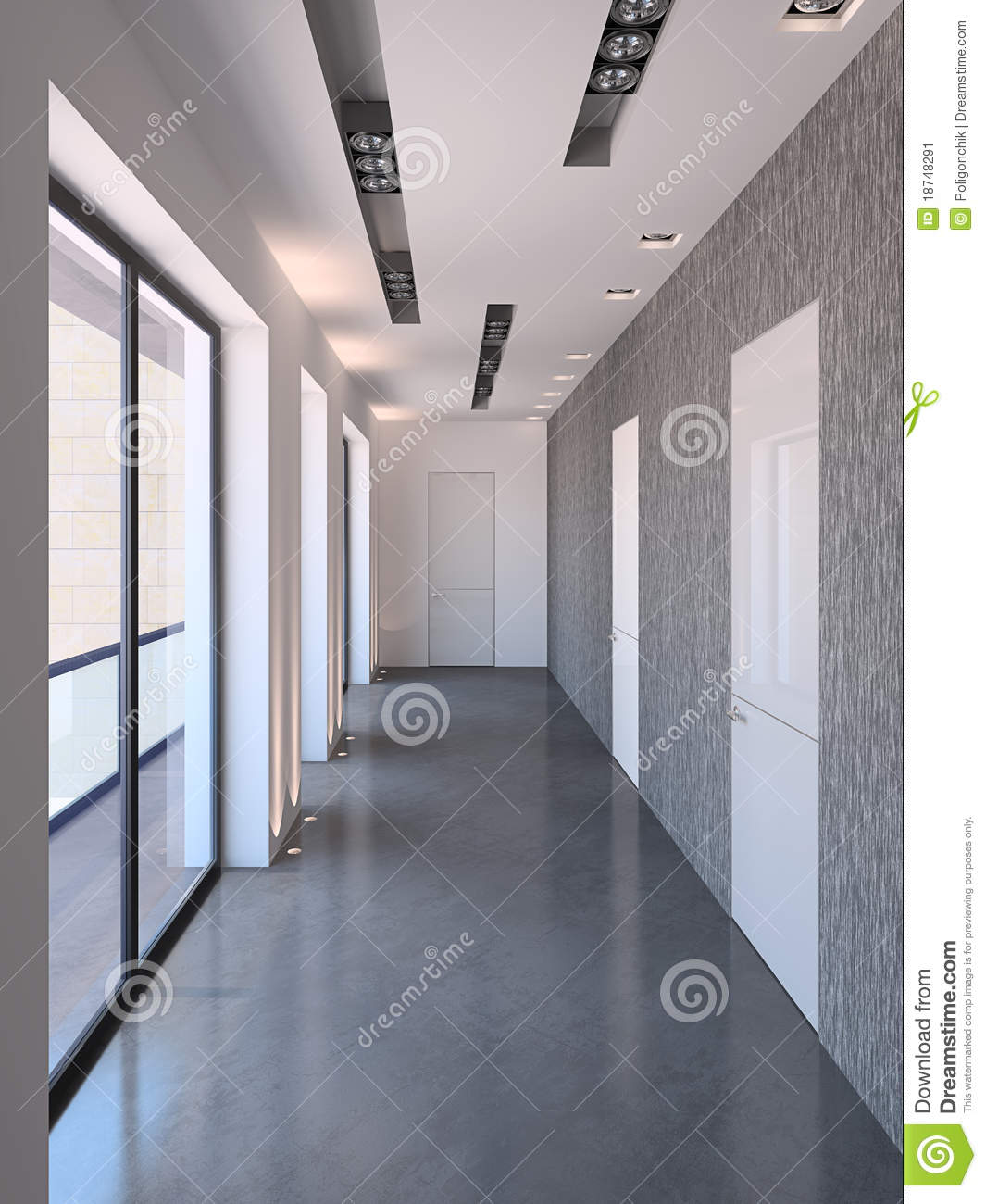 Long couloir moderne image stock image 18748291 for Idee deco couloir long