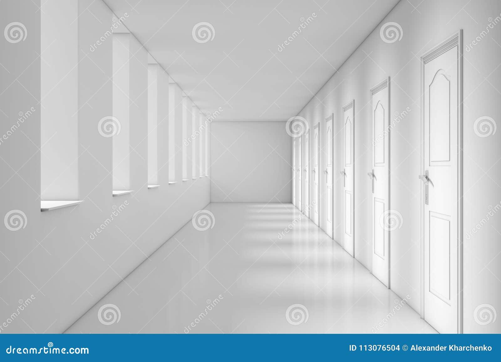 Long Couloir Moderne De Bureau, D\'école, D\'hôtel Ou D\'hôpital Rende ...