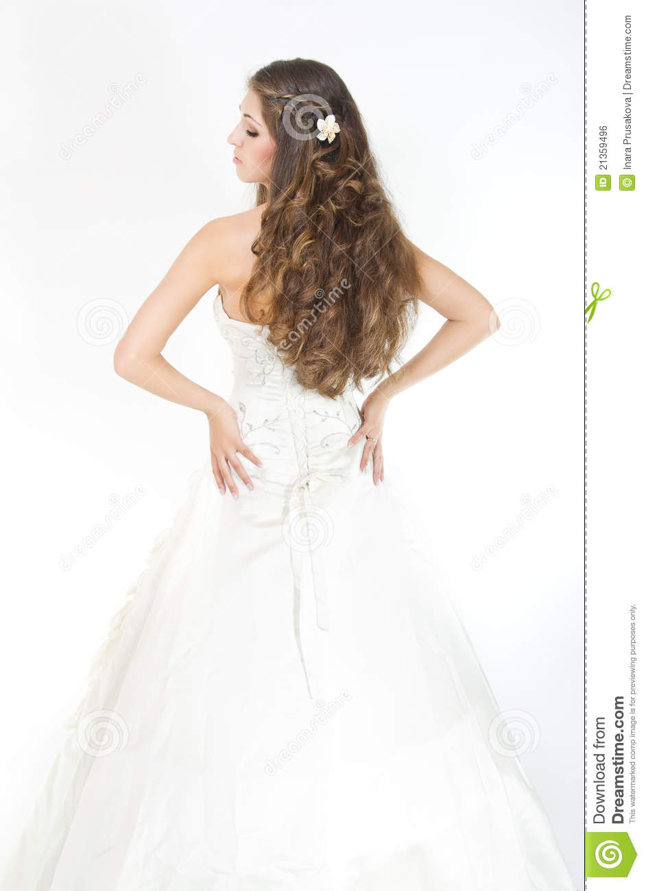 Long Curly Hair. Bride Hairstyle. Back View Stock Photo - Image of ...