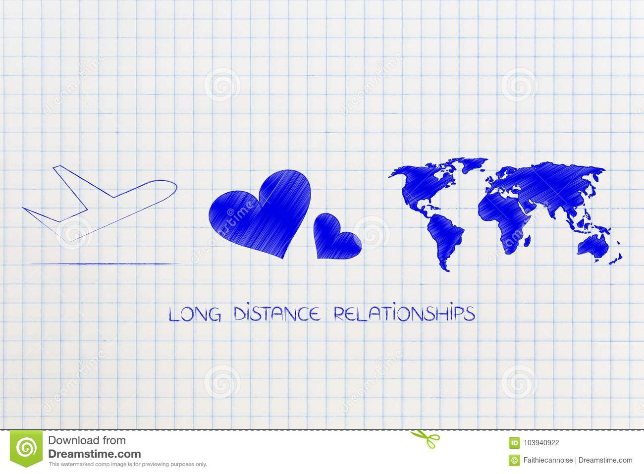 Long Distance Relationship Airplane With Lovehearts And