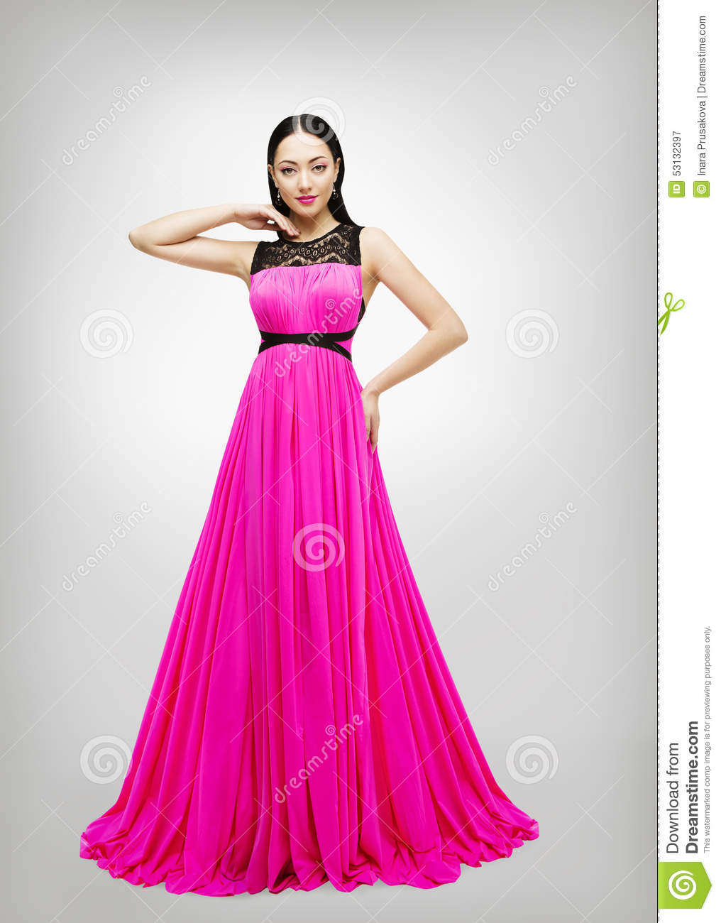 Long dress young woman fashion model pink gown high waist - Modele dressing ...