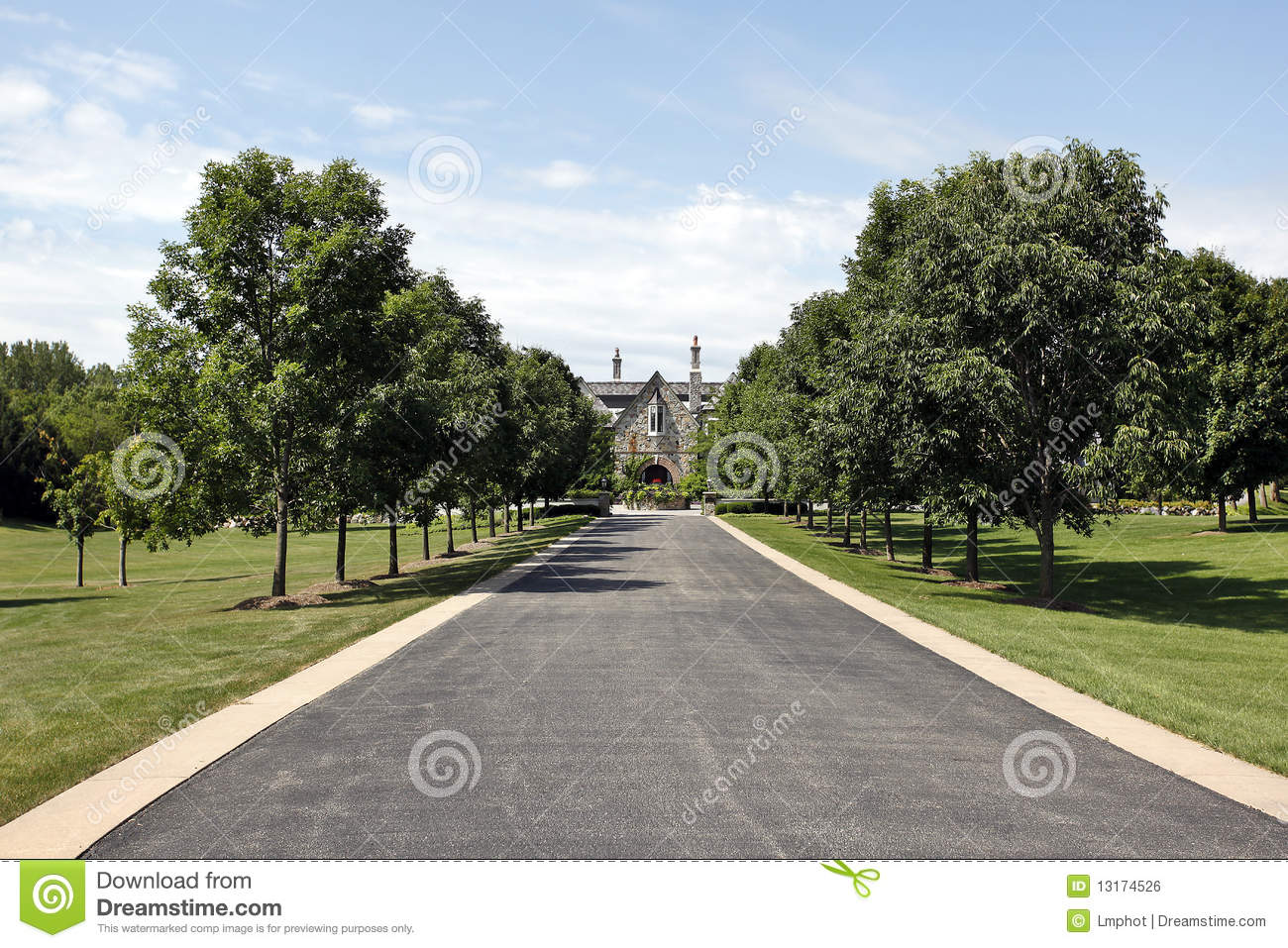 Long driveway with courtyard stock photo image of dream for Courtyard driveway house plans