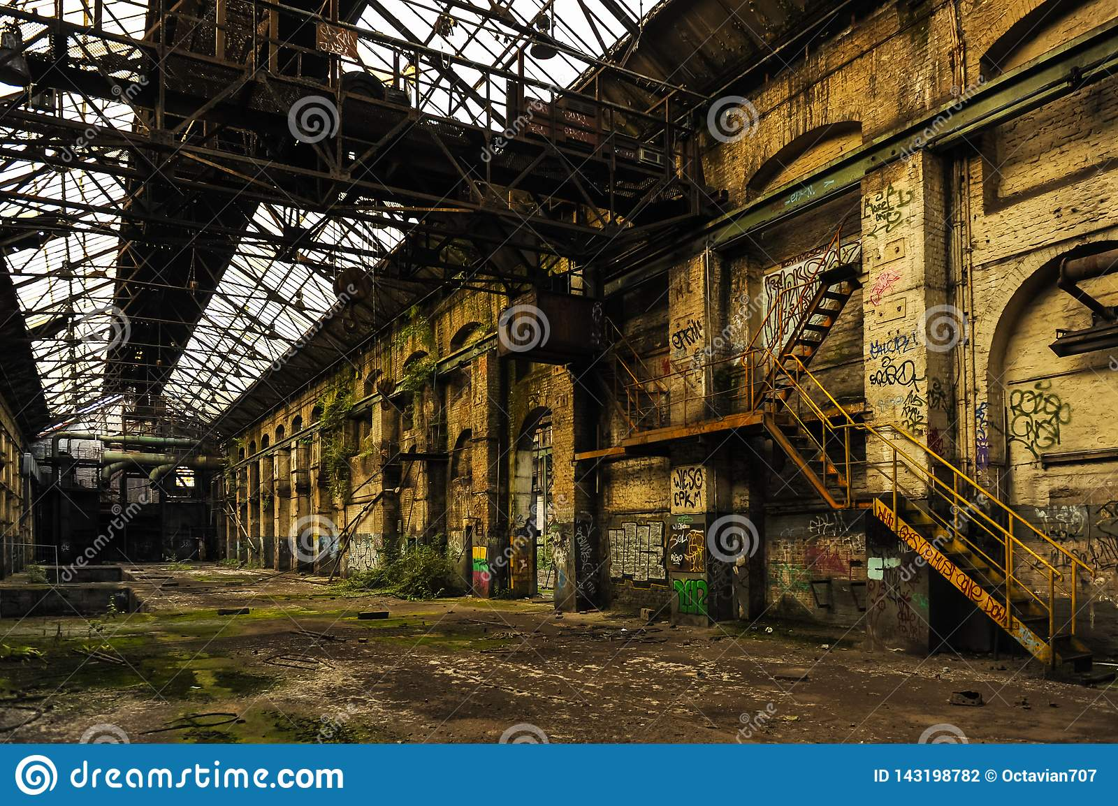 Long and empty industry hall