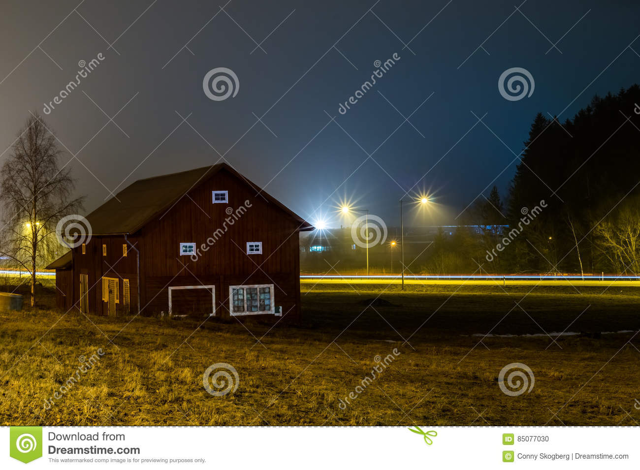A Long Exposure With A Barn At Night Stock Photo - Image ...