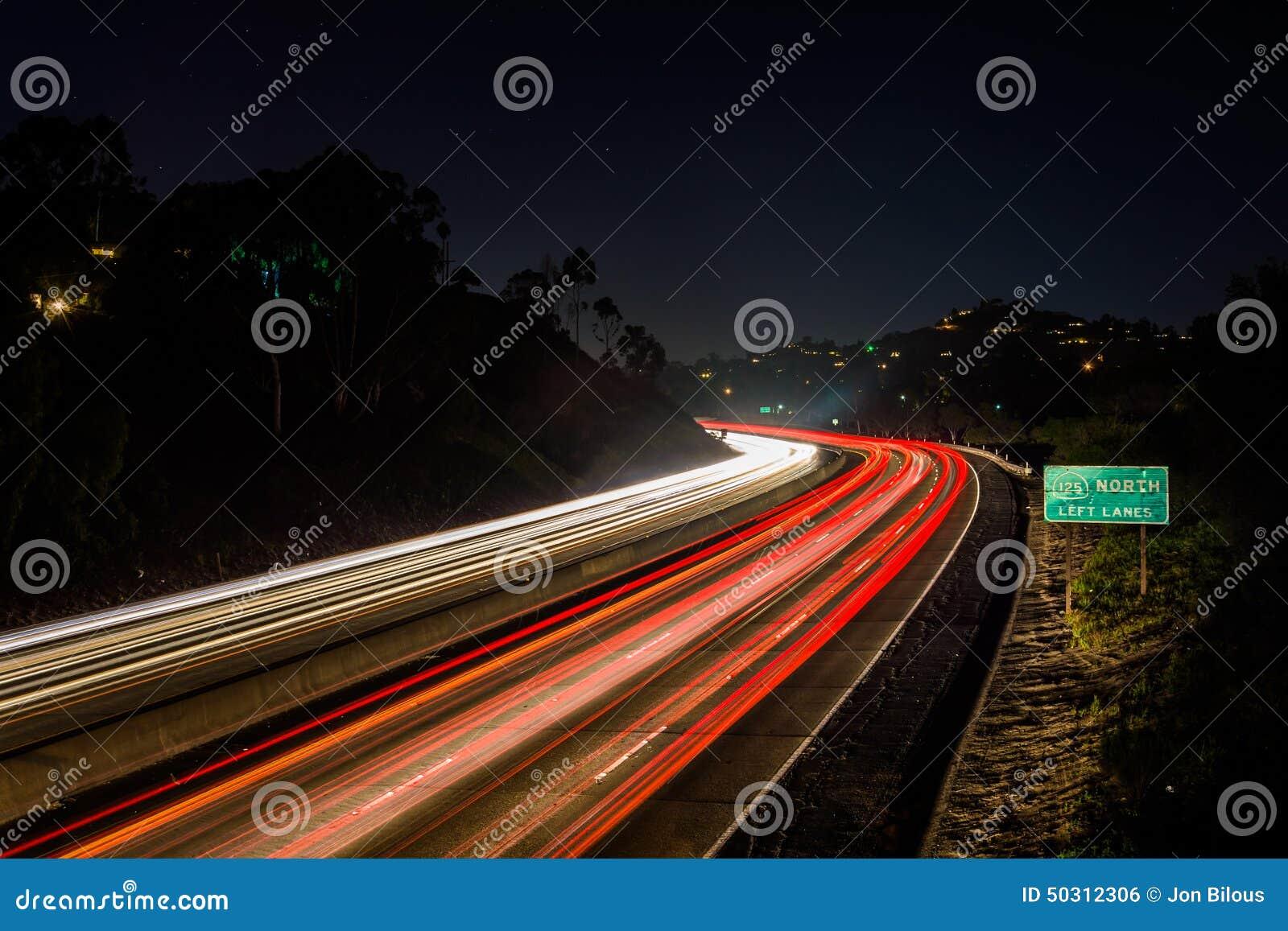 Long exposure of California Route 125 at night, in La Mesa, Cali