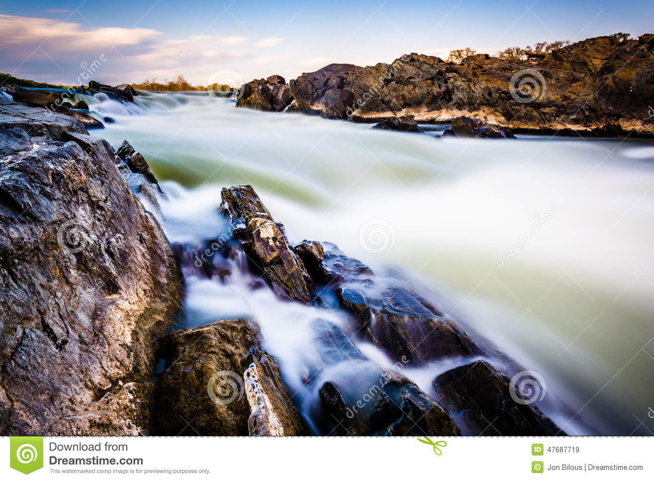 Long Exposure Of Cascades On The Potomac River At Great