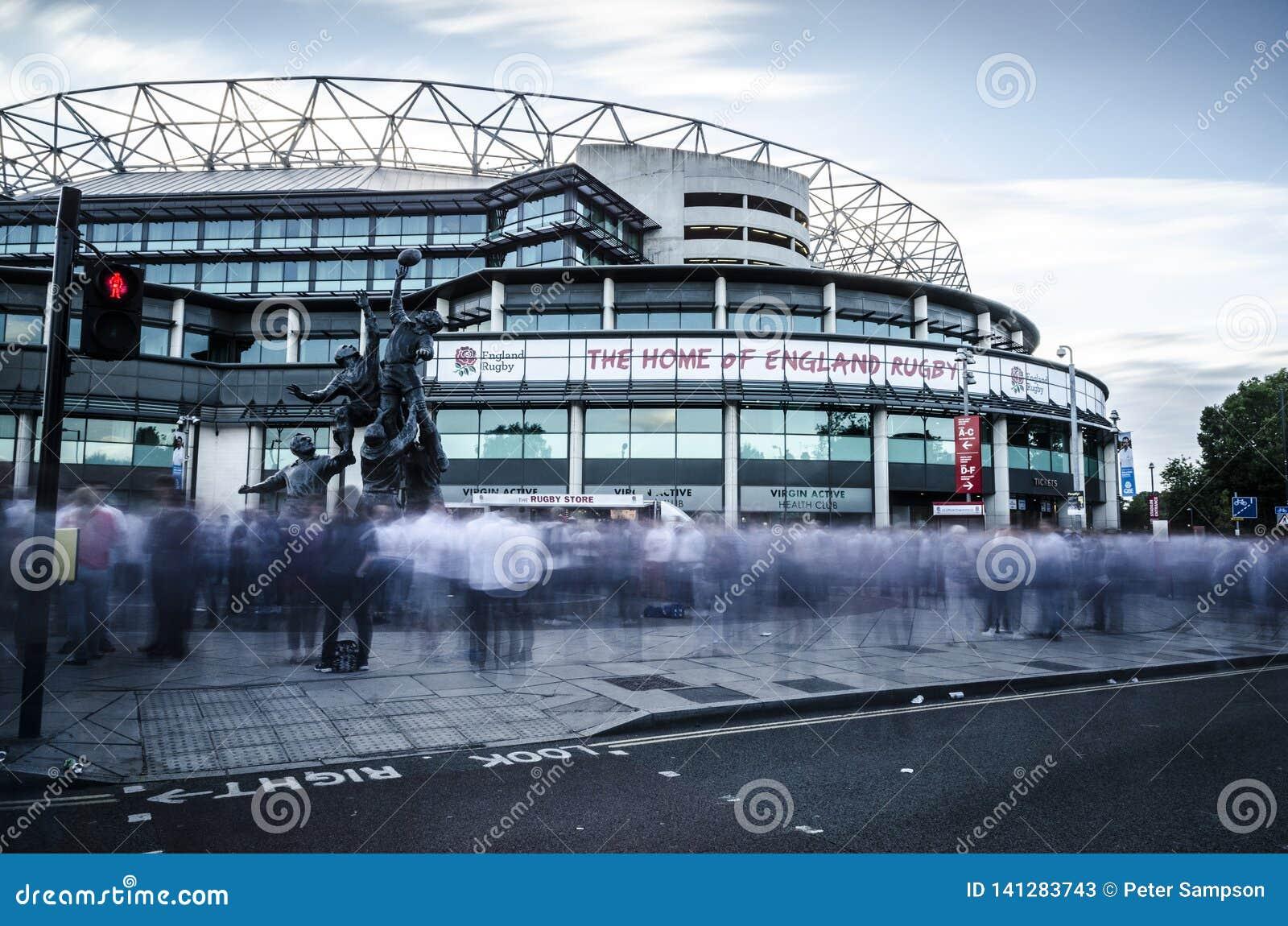 Fans at Twickenham Stadium