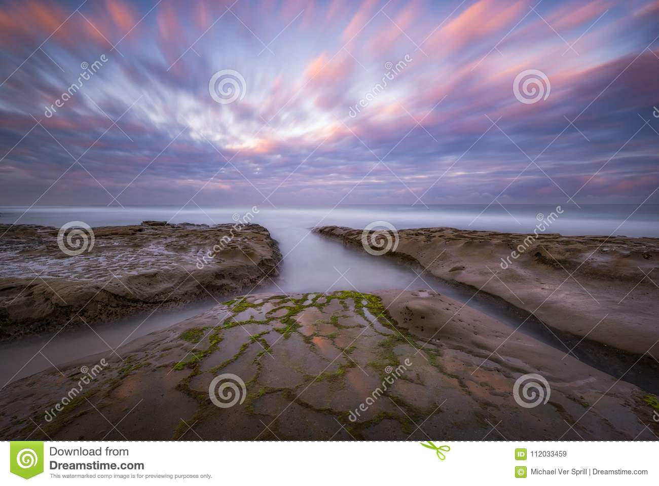 Long Exposure Of High Tide Water In La Jolla California At