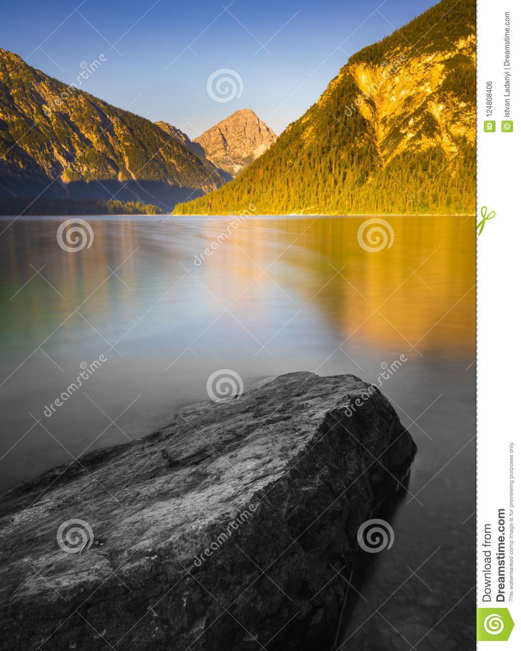 Mystic Stone In The Mountain Lake Stock Photo Image Of Evening