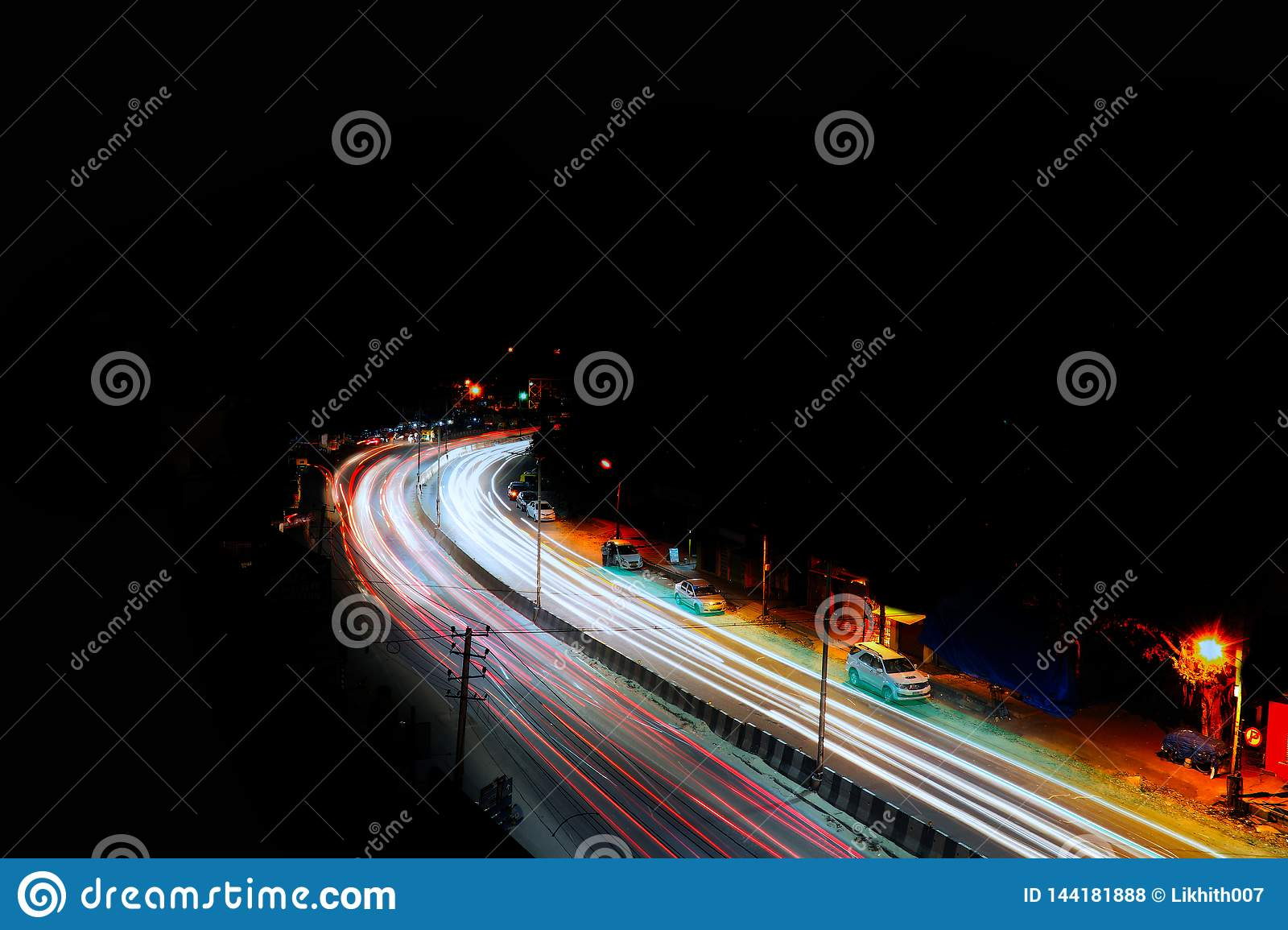 Long exposure photography of traffic in bangalore city