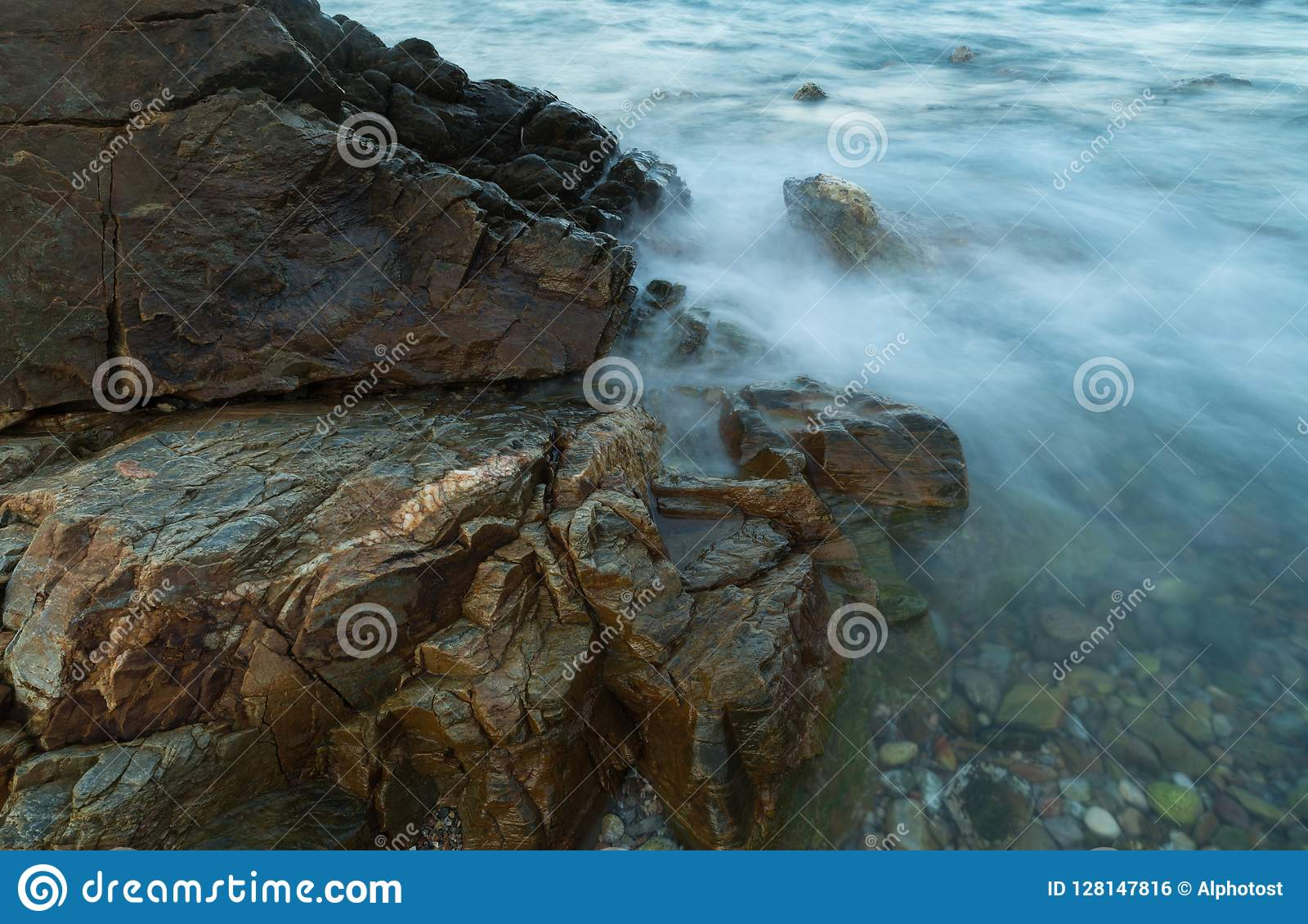 Long exposure seascape water with motion blur