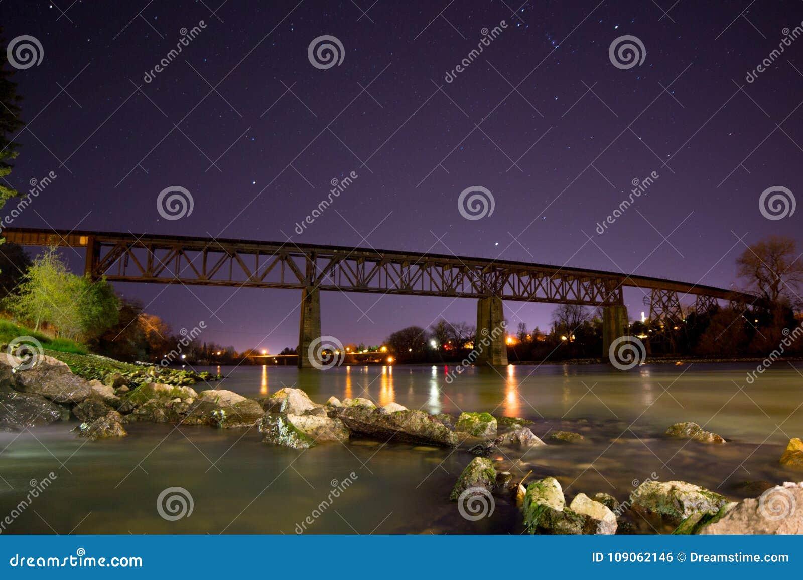 Night Shot Of Train Trestle Over Sacramento River In Redding Ca