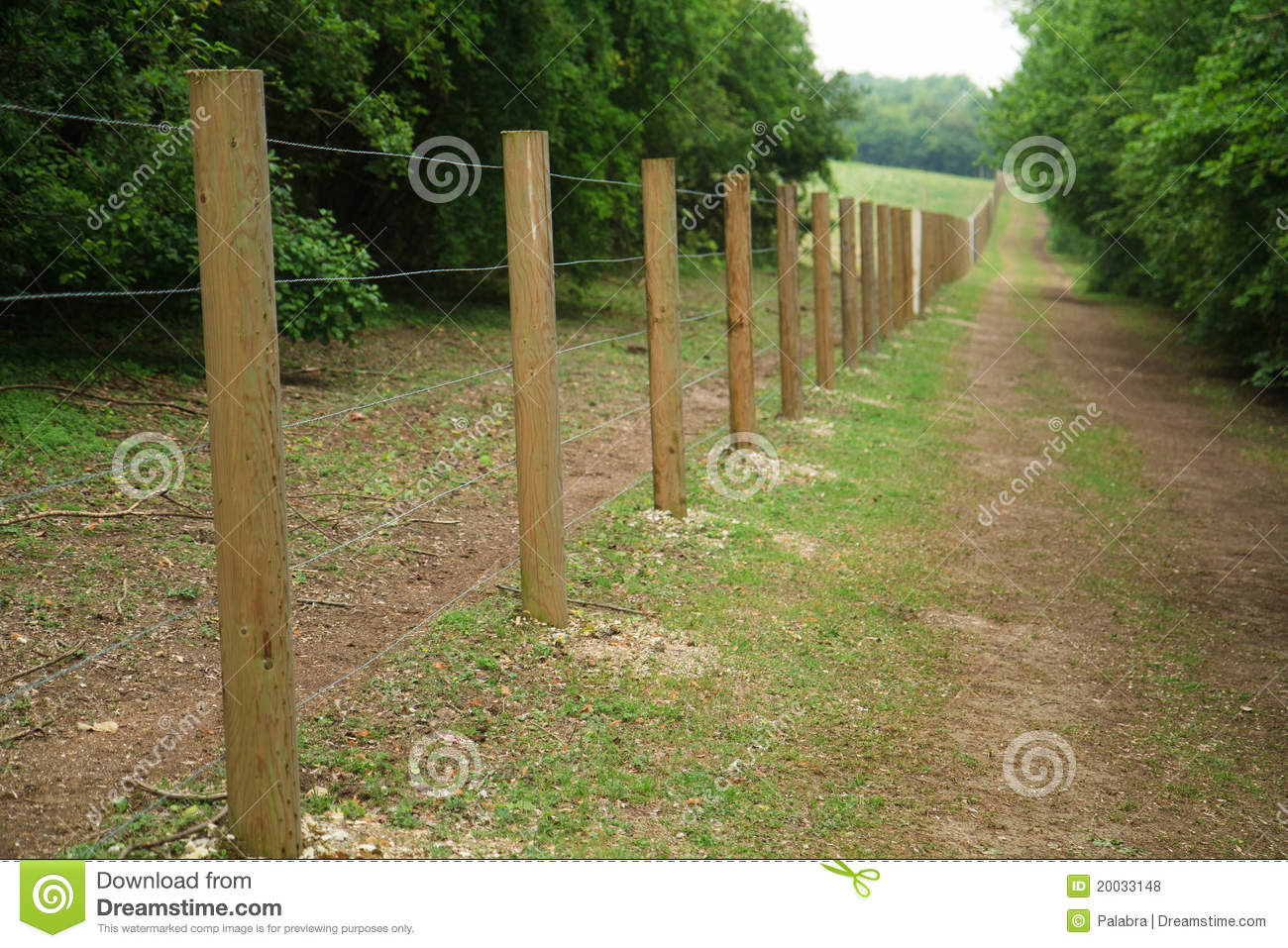 Long fence of wooden posts
